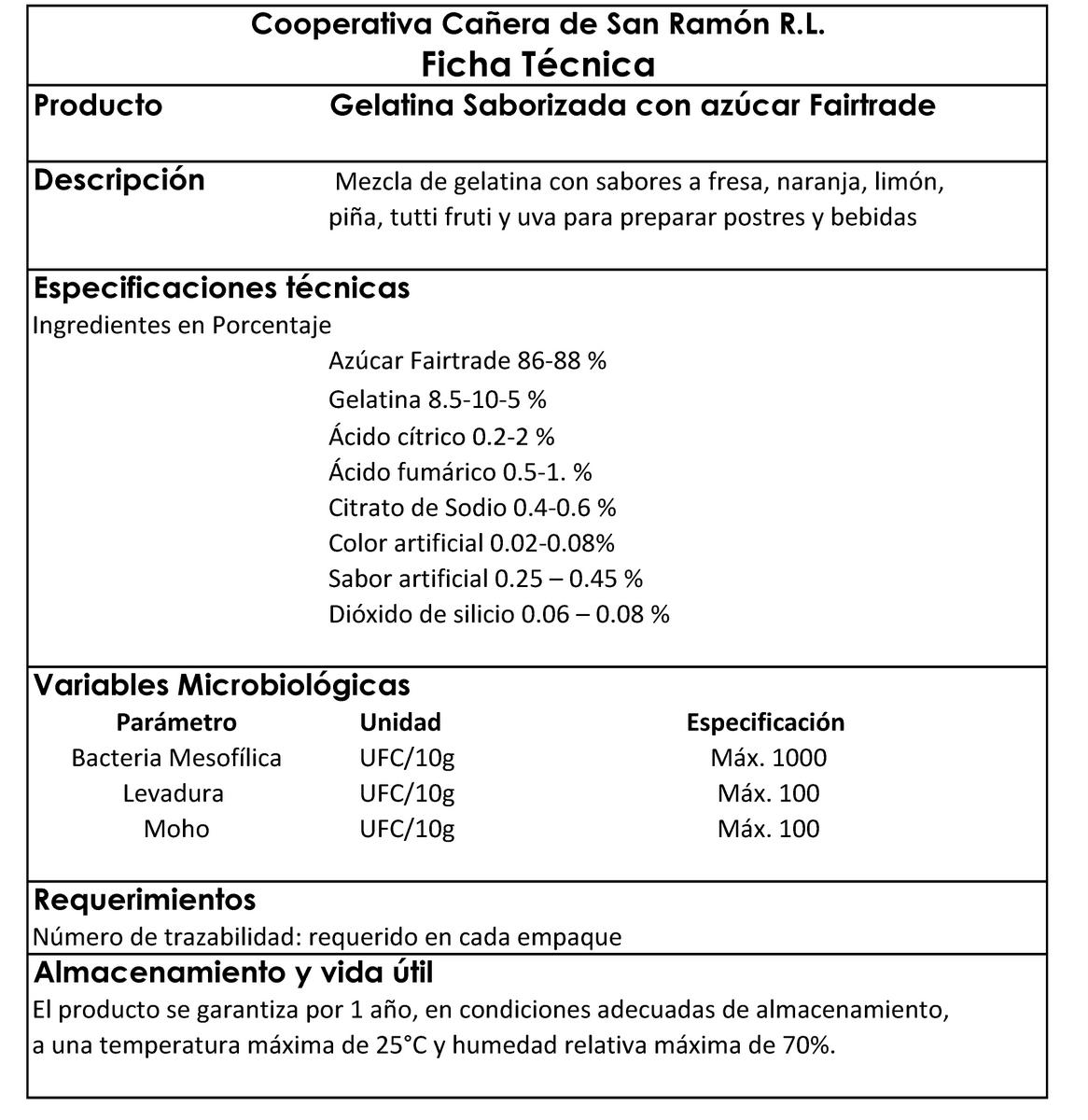 especificaciones tecnicas gelatinas